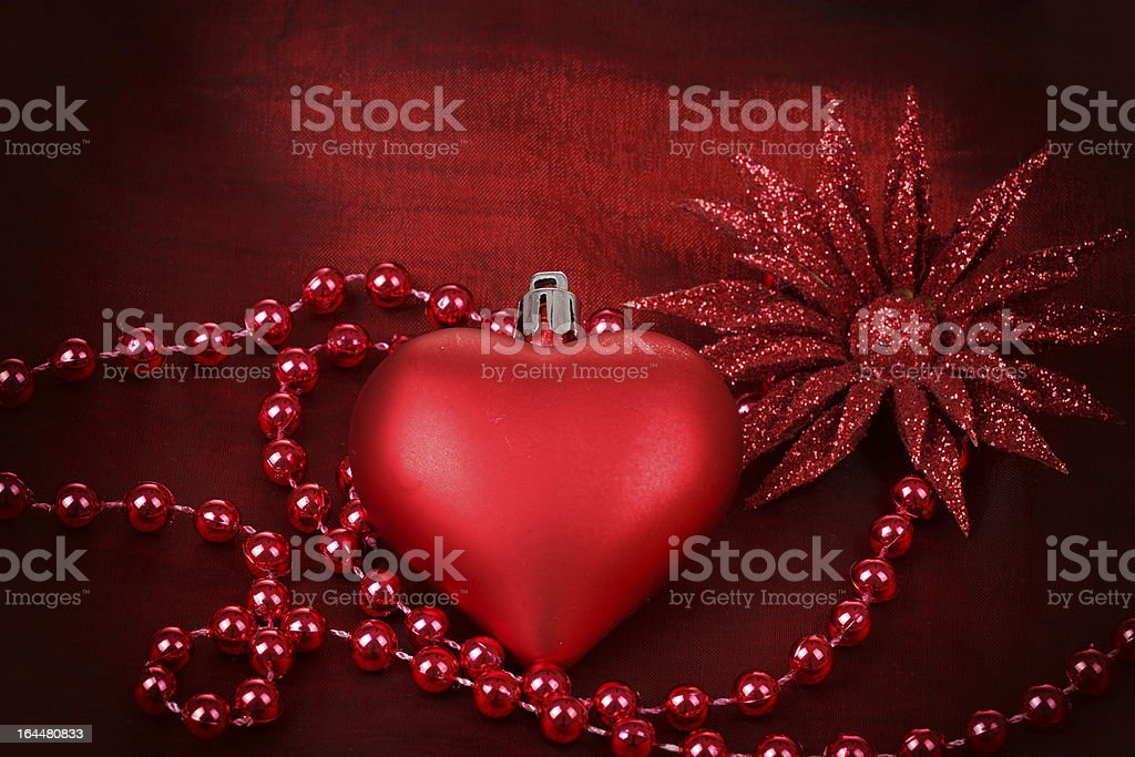 valentine heart with flower on red background stock photo