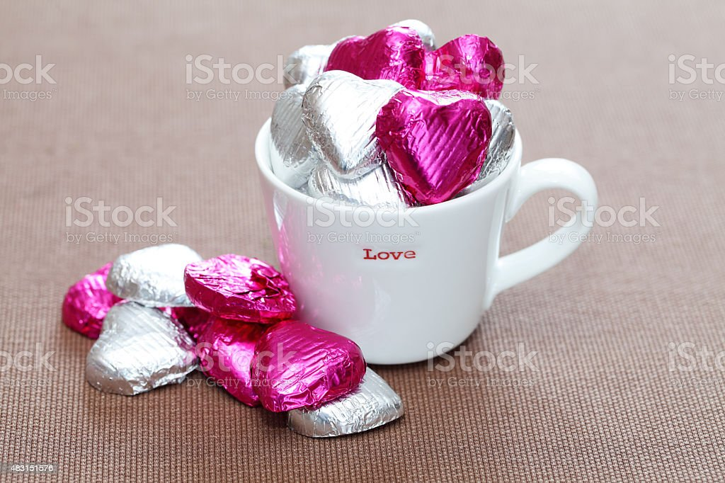 valentine love cup gift stock photo