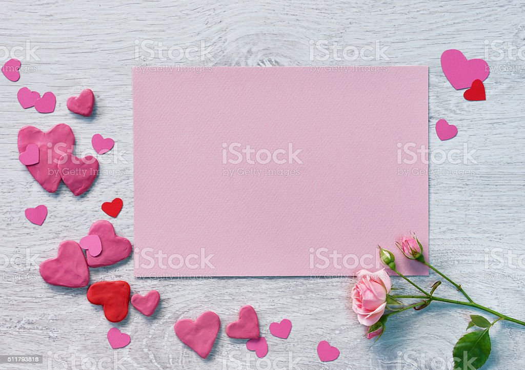 Valentine pink card with valentines heart shaped stock photo