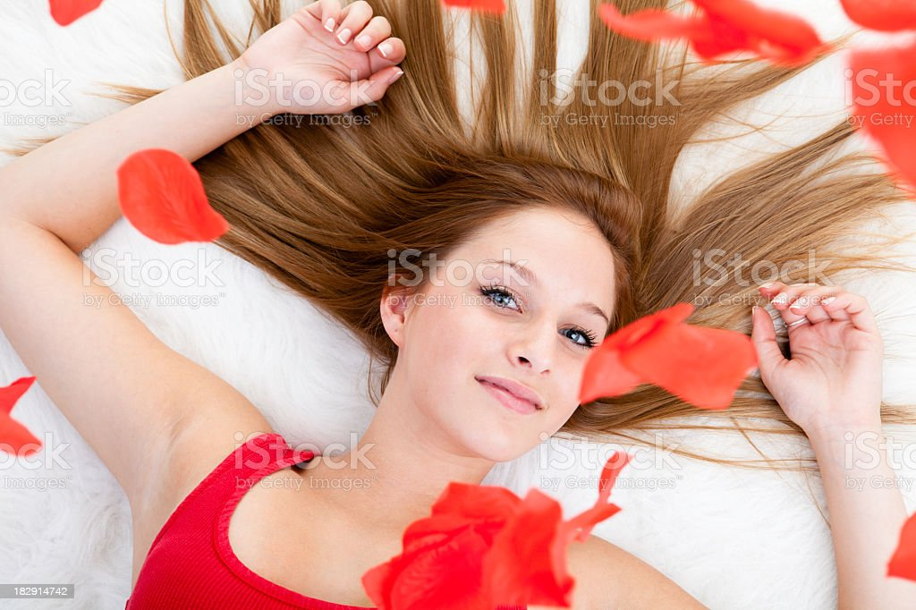Valentine Rose Petal Fly stock photo
