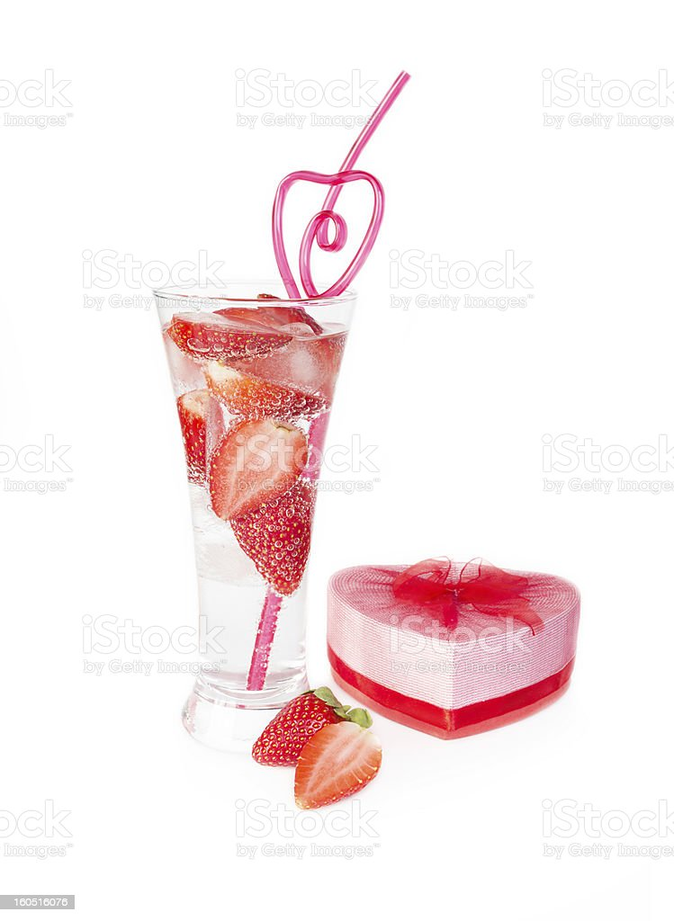 Valentine strawberry and heart royalty-free stock photo