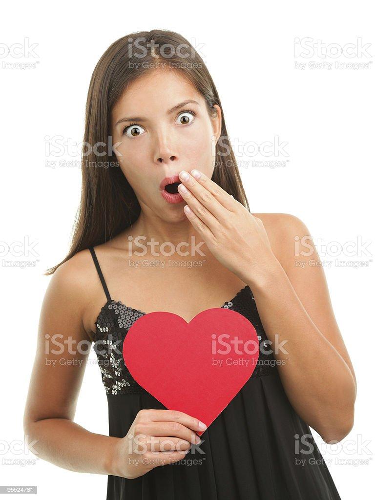 Valentine woman shock stock photo