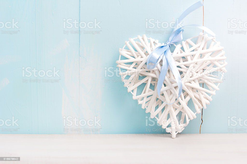 Valentine's background empty space.Heart on wooden board. stock photo