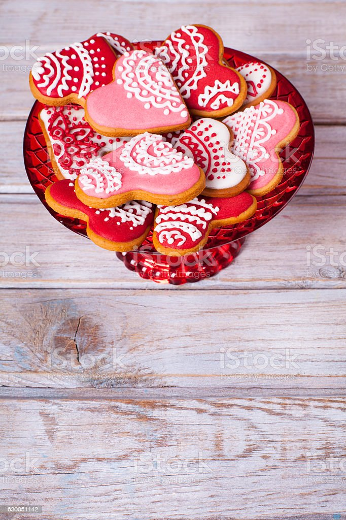Valentine's background with heart shaped gingerbread cookies. stock photo