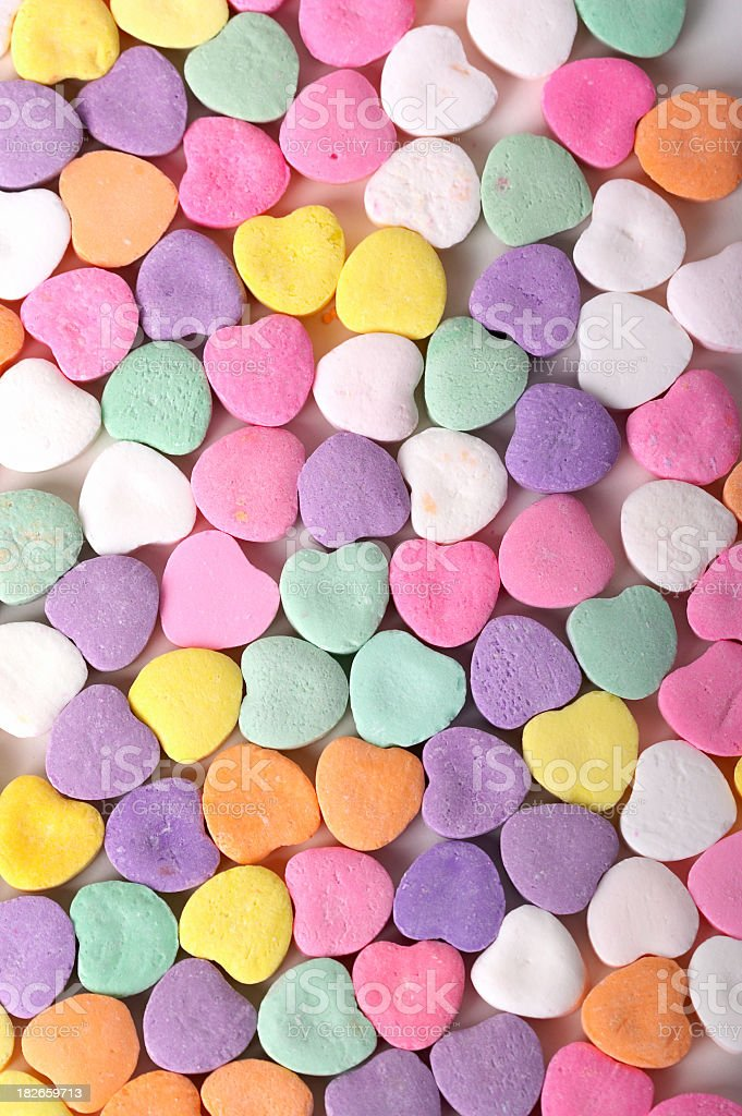 Valentines Candy Hearts background stock photo