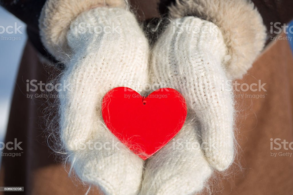 Valentines card on mittens stock photo