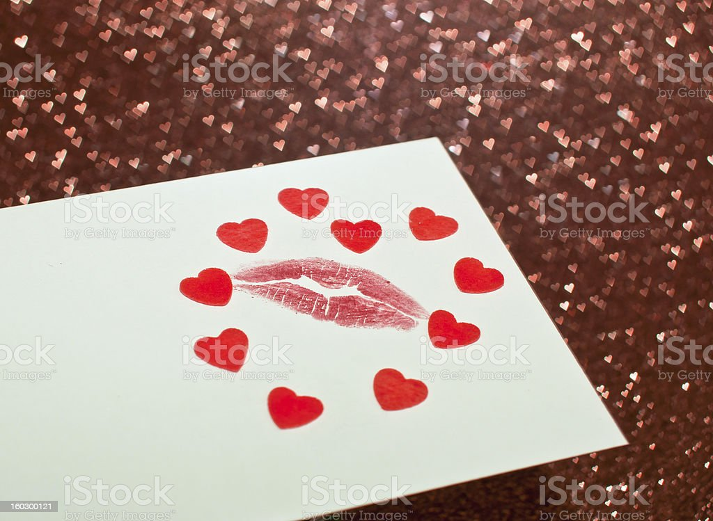 Valentine's card with a kiss royalty-free stock photo