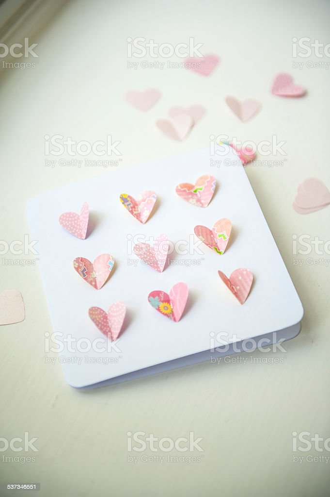 Close up of a Handmade Card with pop-up heart Shaped