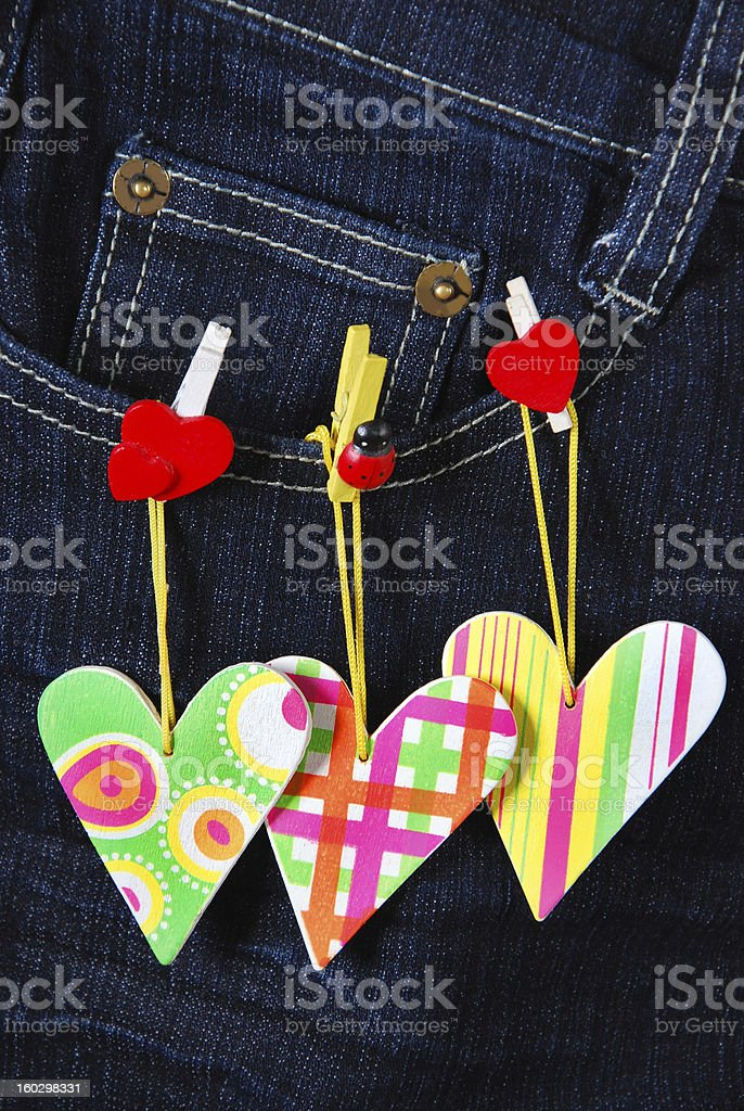 valentine`s card with hearts on denim pocket royalty-free stock photo