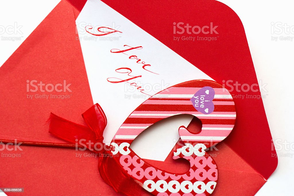 valentines card with red envelope stock photo