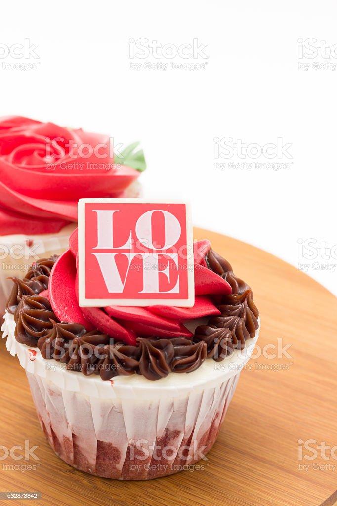 Valentines cupcakes on white background stock photo