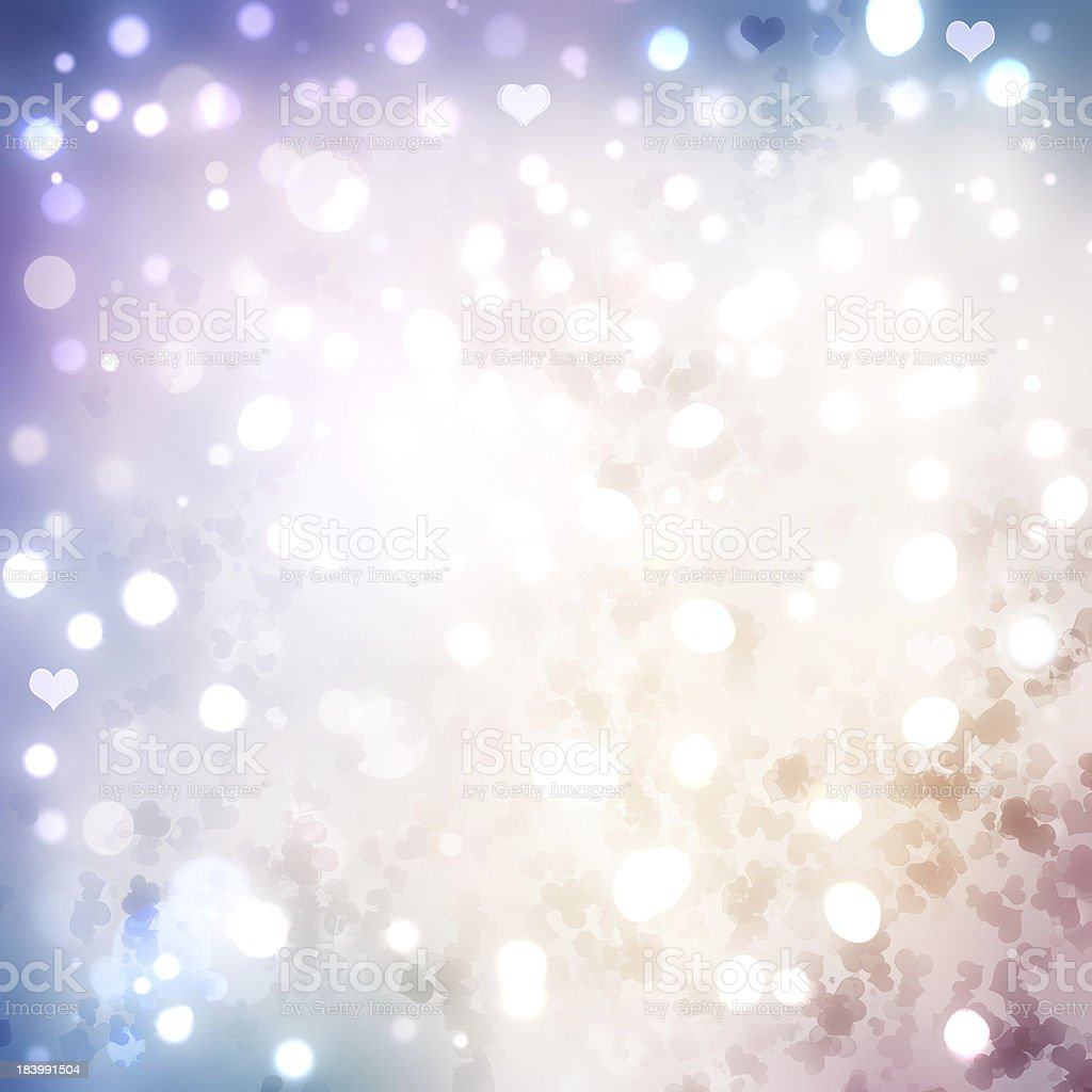 Valentines day abstract background with bokeh lights and hearts. stock photo