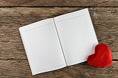 Valentines day background. Valentine hearts with open blank note