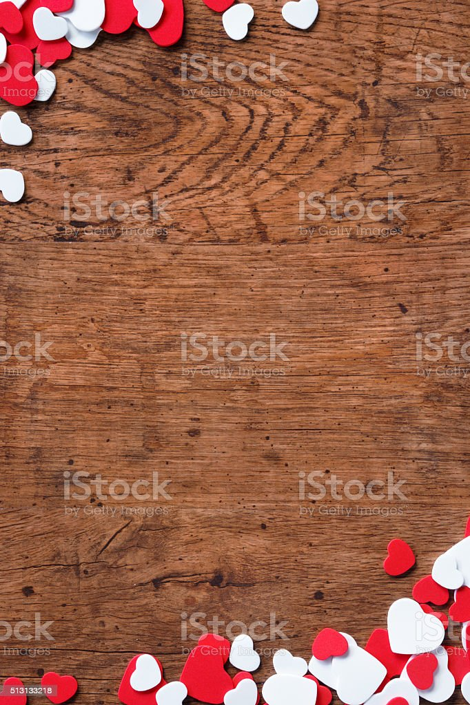 Valentines Day background with heap of small hearts stock photo