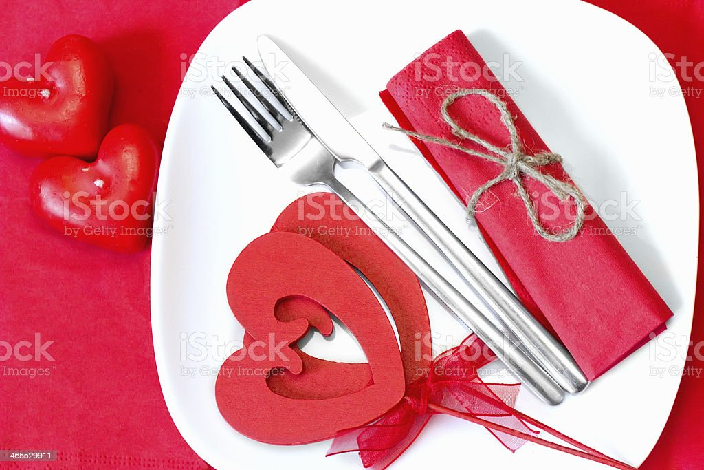 Valentines Day background with hearts on a white plate royalty-free stock photo
