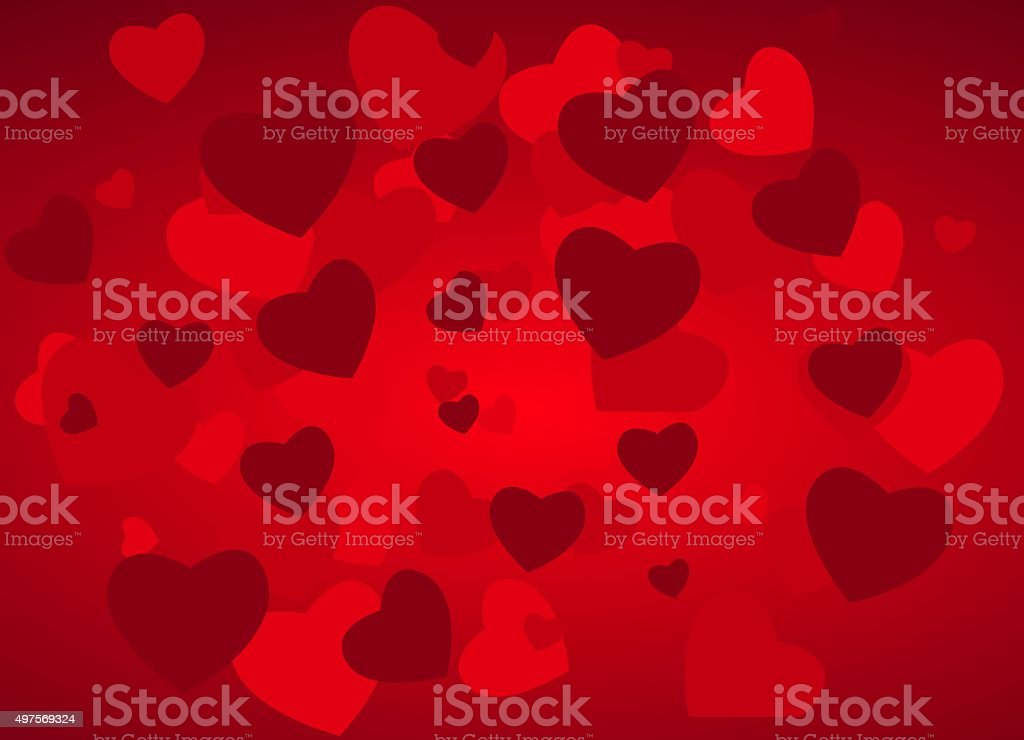 Valentine's day background with hearts vector art illustration