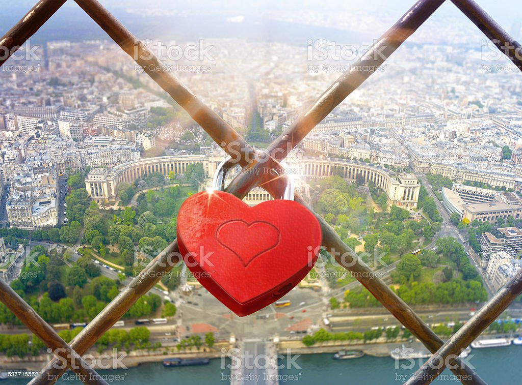 Valentines Day background with hearts-padlock stock photo