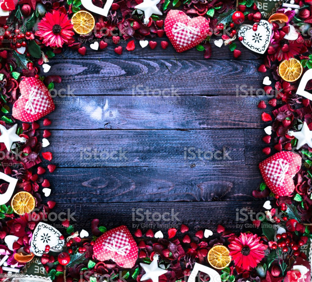 Valentine's Day Background with love themed elements stock photo