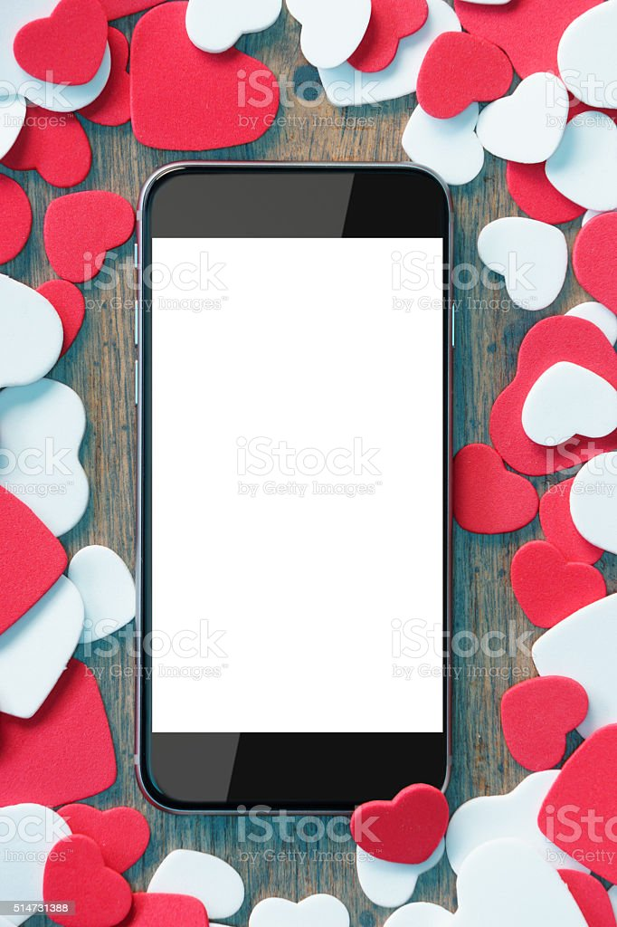Valentine's day background with phone stock photo
