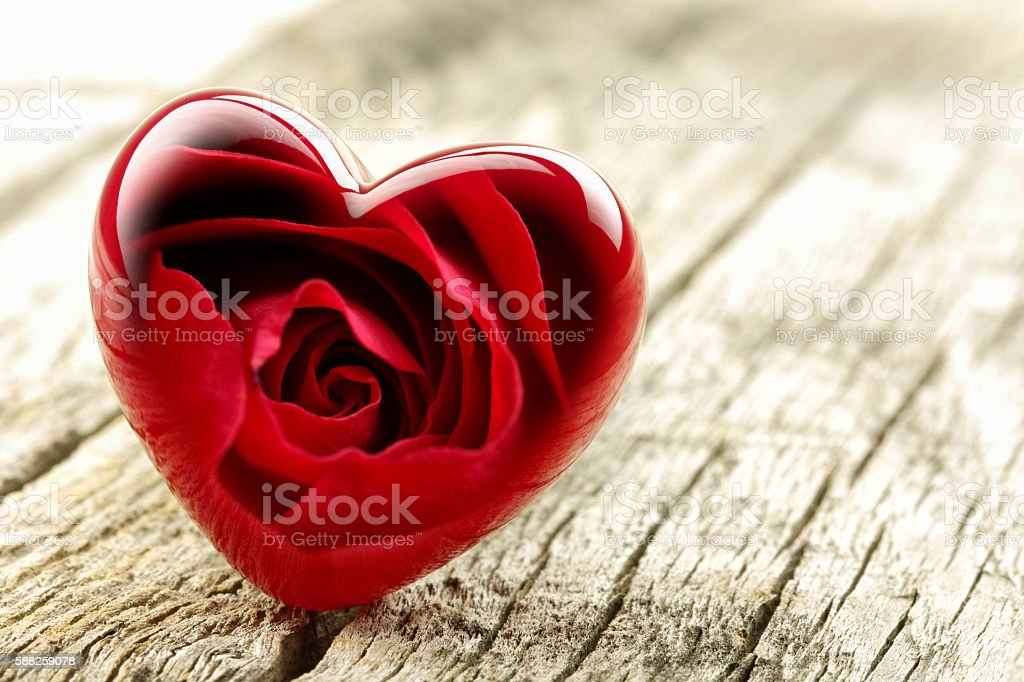 Valentines Day background with Red heart. stock photo