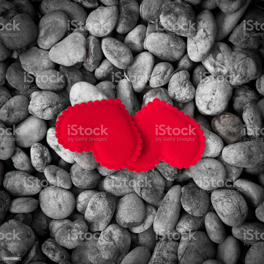 Valentines Day background with two hearts stock photo