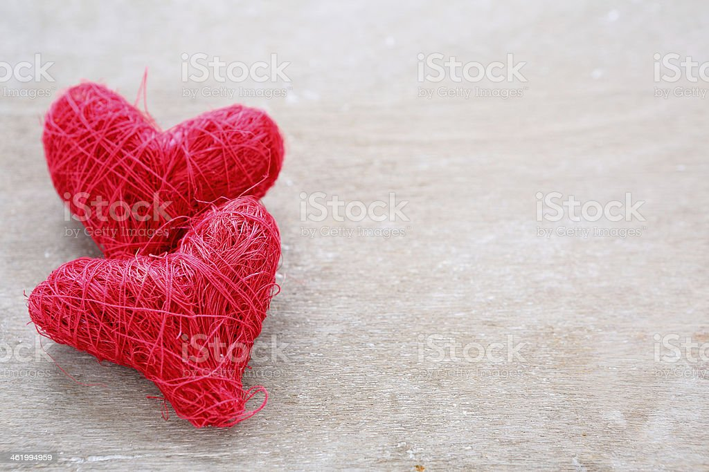Valentines Day background with two red hearts, love