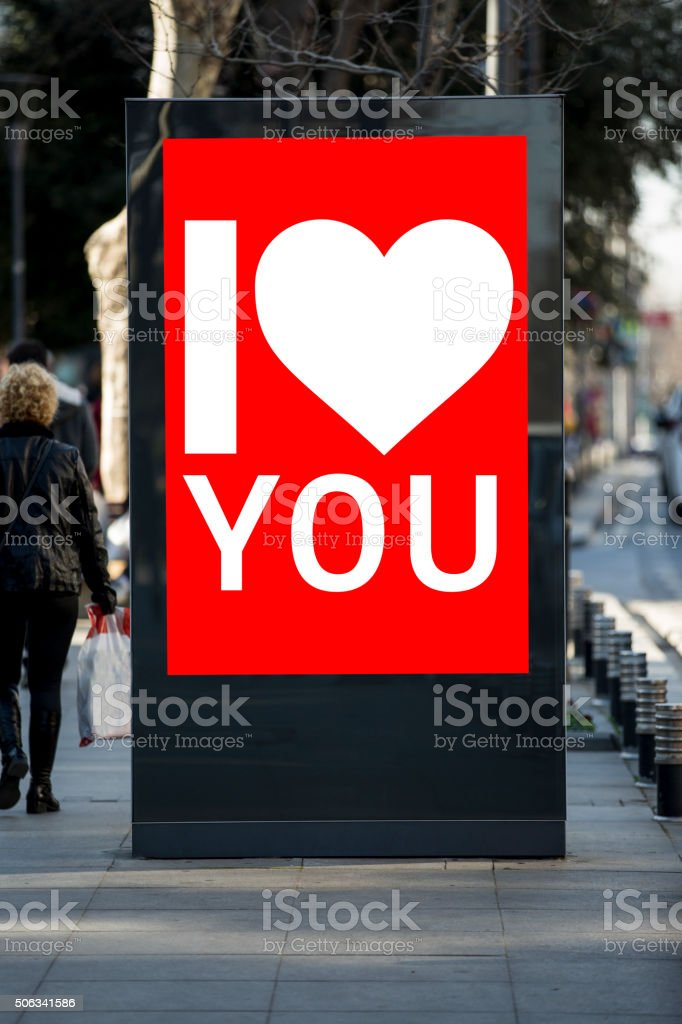 Valentine´s day billboards at city street stock photo
