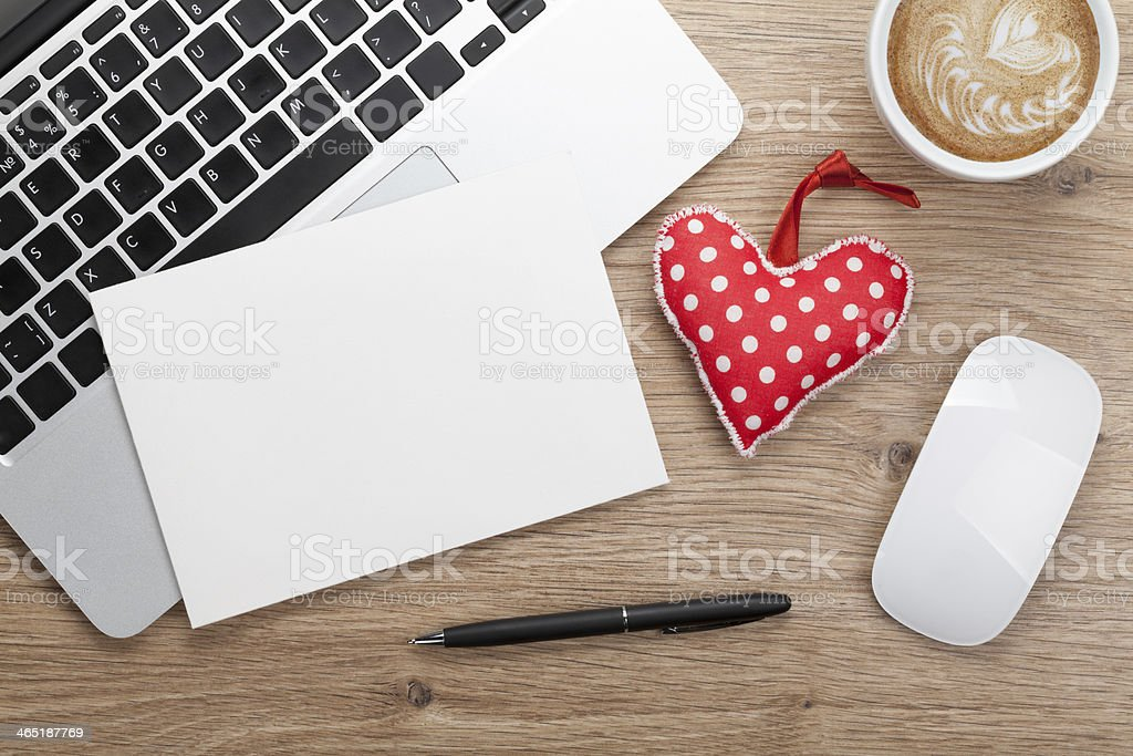 Valentine's day blank greeting card and toy heart stock photo