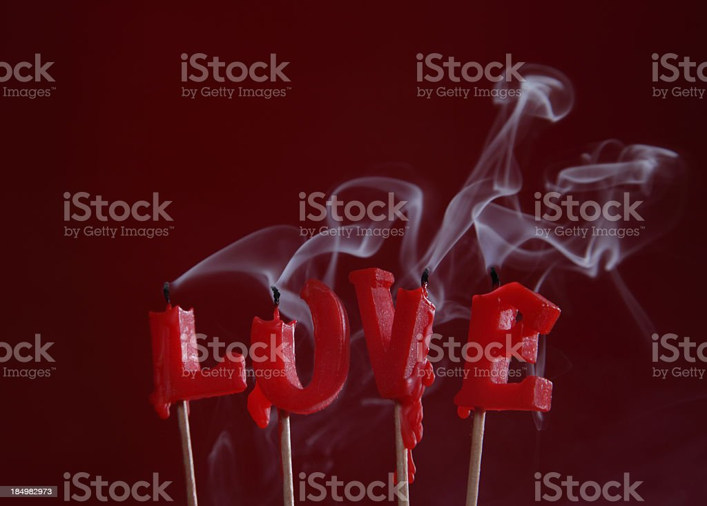 Valentine's Day - Blown out Love candles stock photo