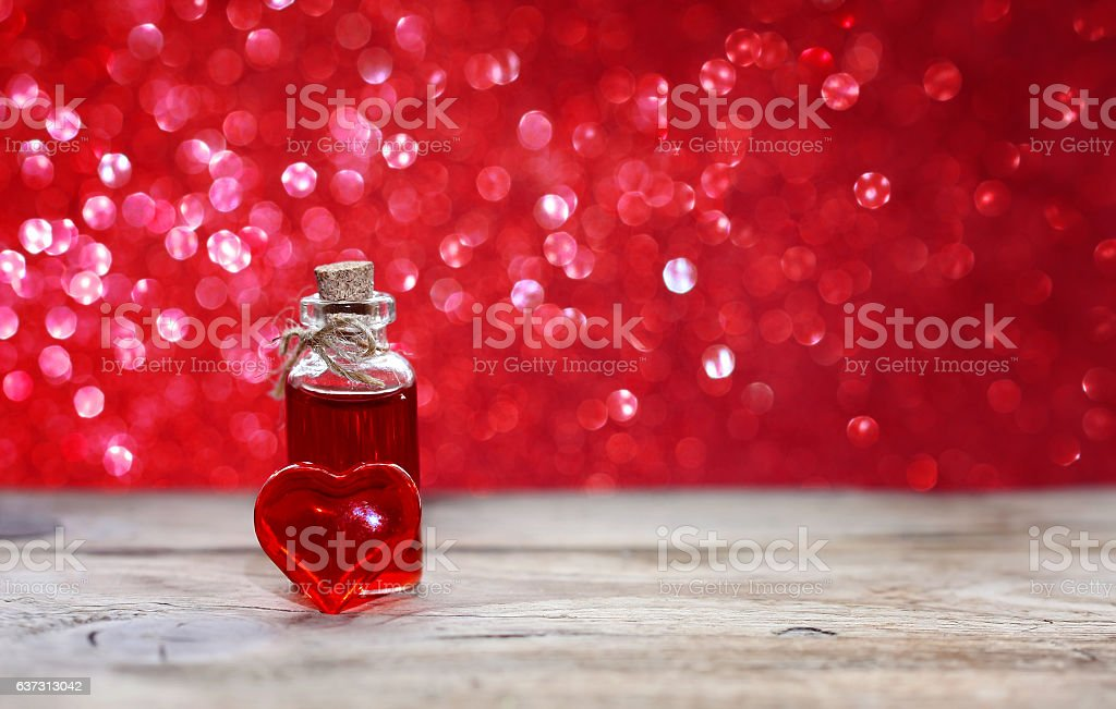 valentine's day, bottle of love elixir stock photo