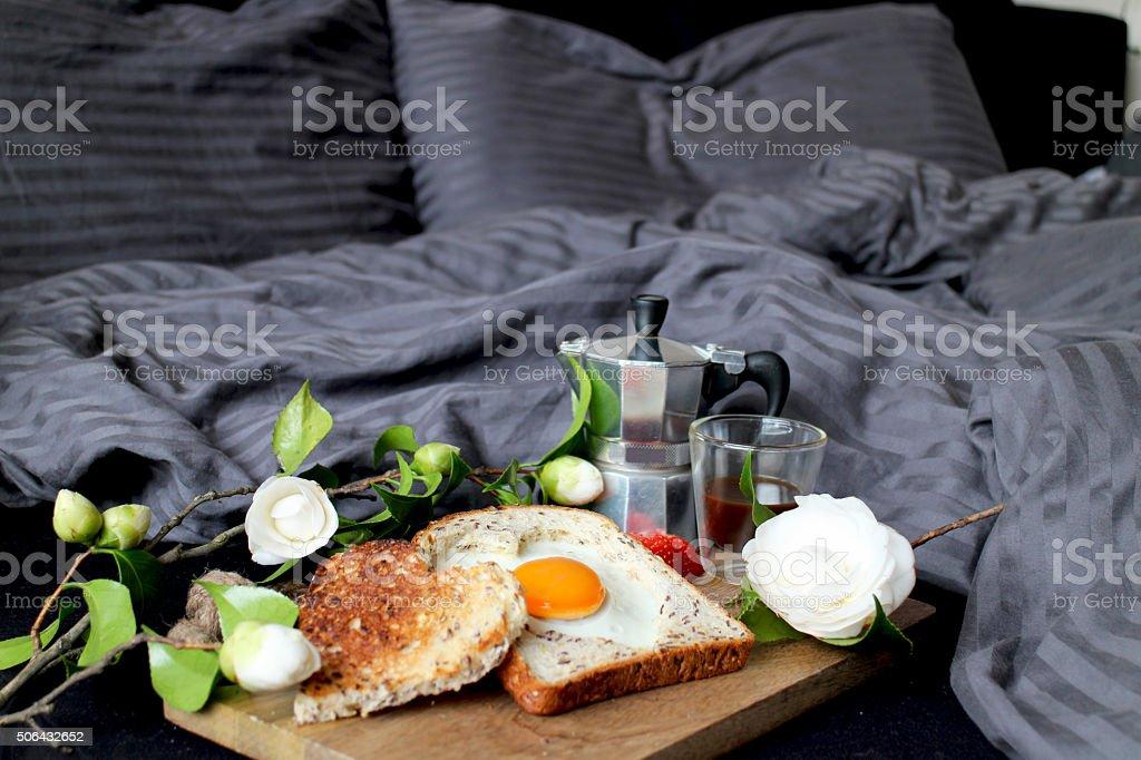 Valentine's day breakfast in bed stock photo