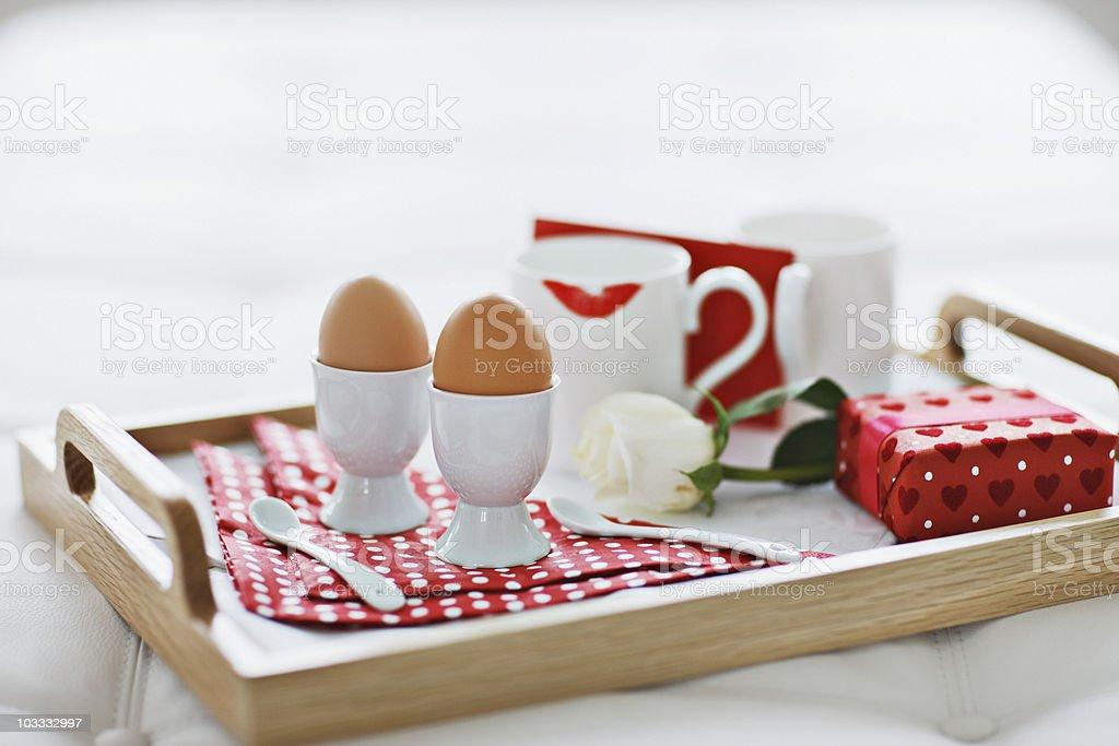 Valentine's Day breakfast tray royalty-free stock photo