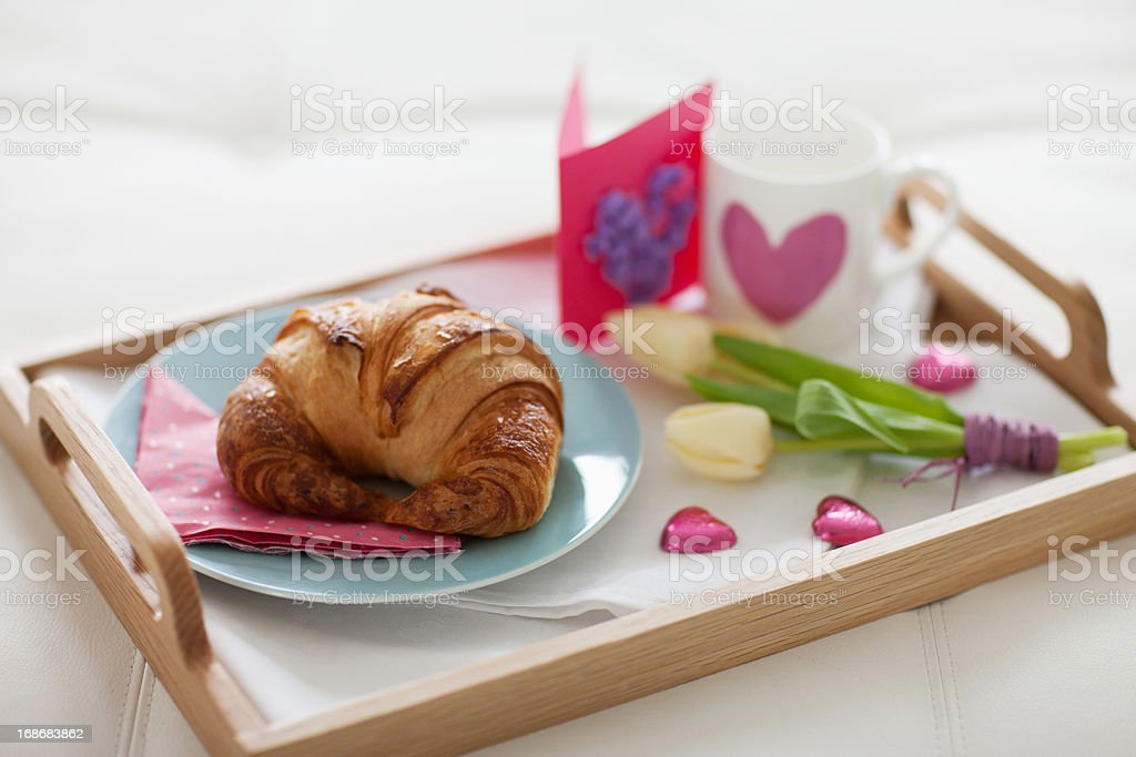 Valentine's Day breakfast tray royalty-free stock photo