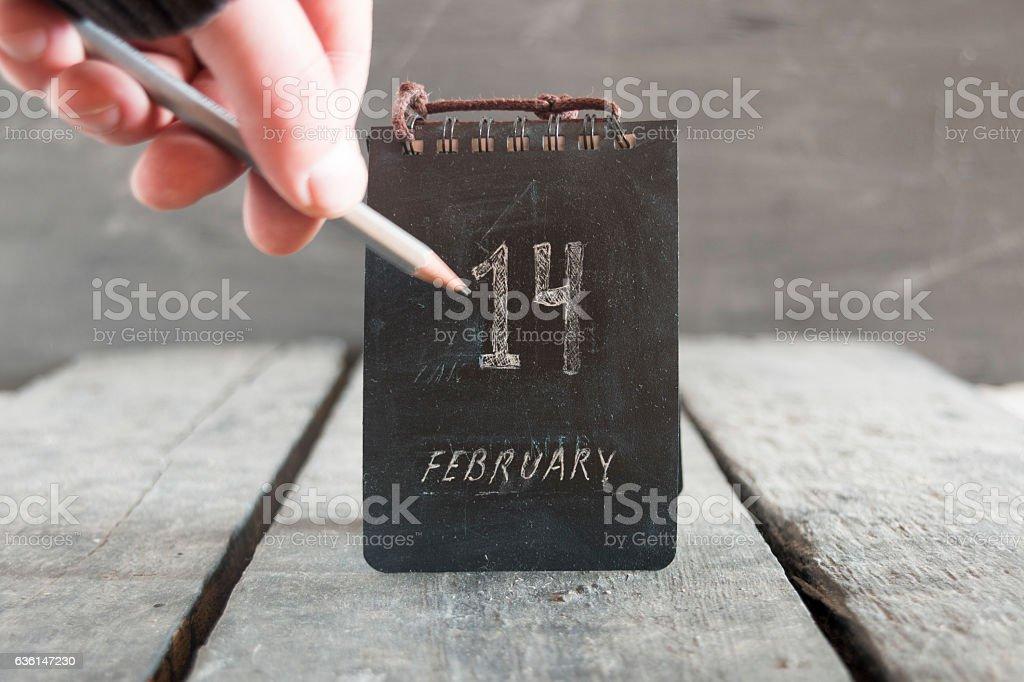 Valentines day calendar. 14 february inscription. stock photo