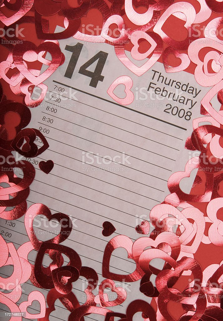 Valentine's Day Calendar Page with Shiny Hearts royalty-free stock photo
