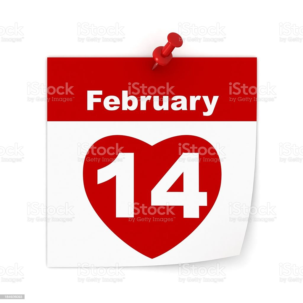 Valentine's Day Calendar royalty-free stock photo