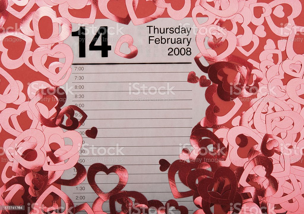 Valentine's Day Calendar with Shiny Red Hearts royalty-free stock photo