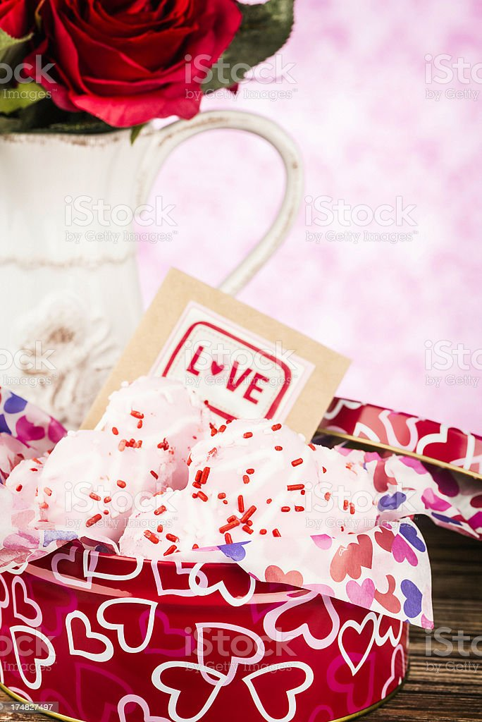 Valentine's Day Card and Cookies royalty-free stock photo