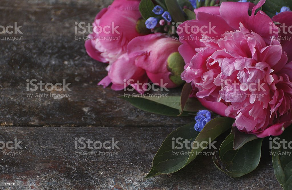 Valentines day card. Flowers on the table stock photo