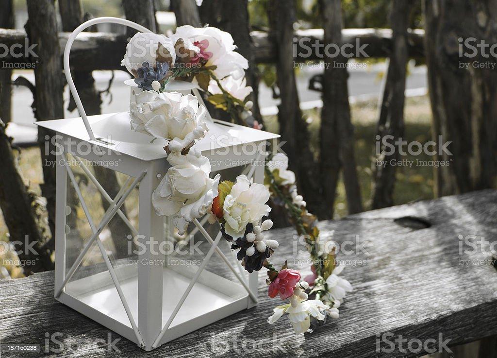 Valentines day card. Wedding invitation. Lantern with bridal wreath stock photo