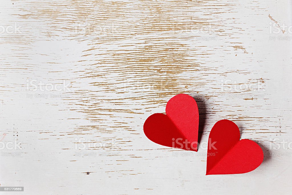 Valentines day card with hearts on a wooden background stock photo