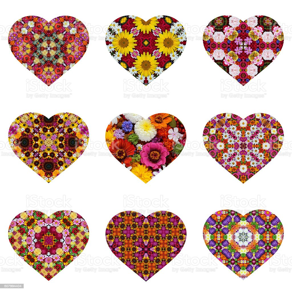 Valentine's Day cards with a flower pattern stock photo