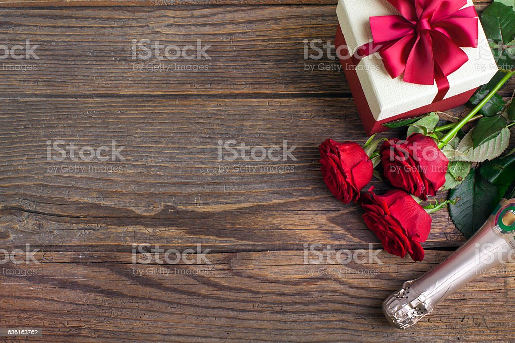 Valentine's Day Celebration on rustic wooden table. stock photo