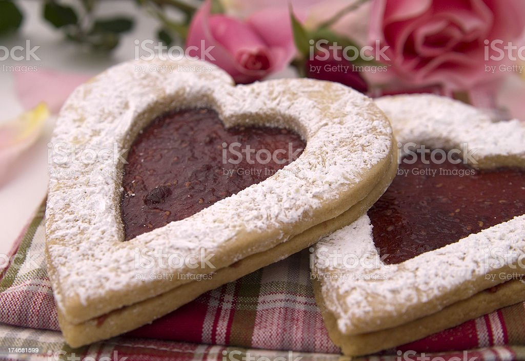 Valentine's Day & Chirstmas Holiday Sweet Food Gift; Heart Shaped Cookies stock photo