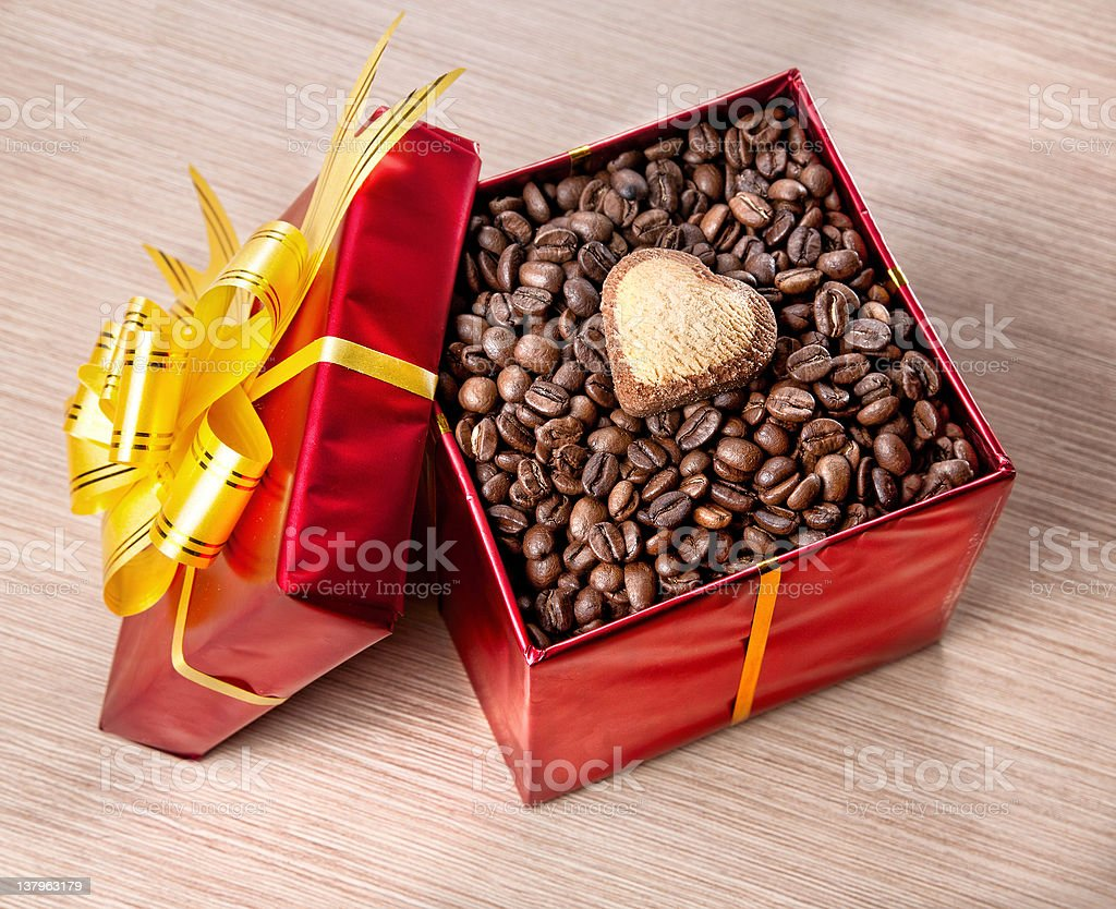 Valentines day coffee present royalty-free stock photo