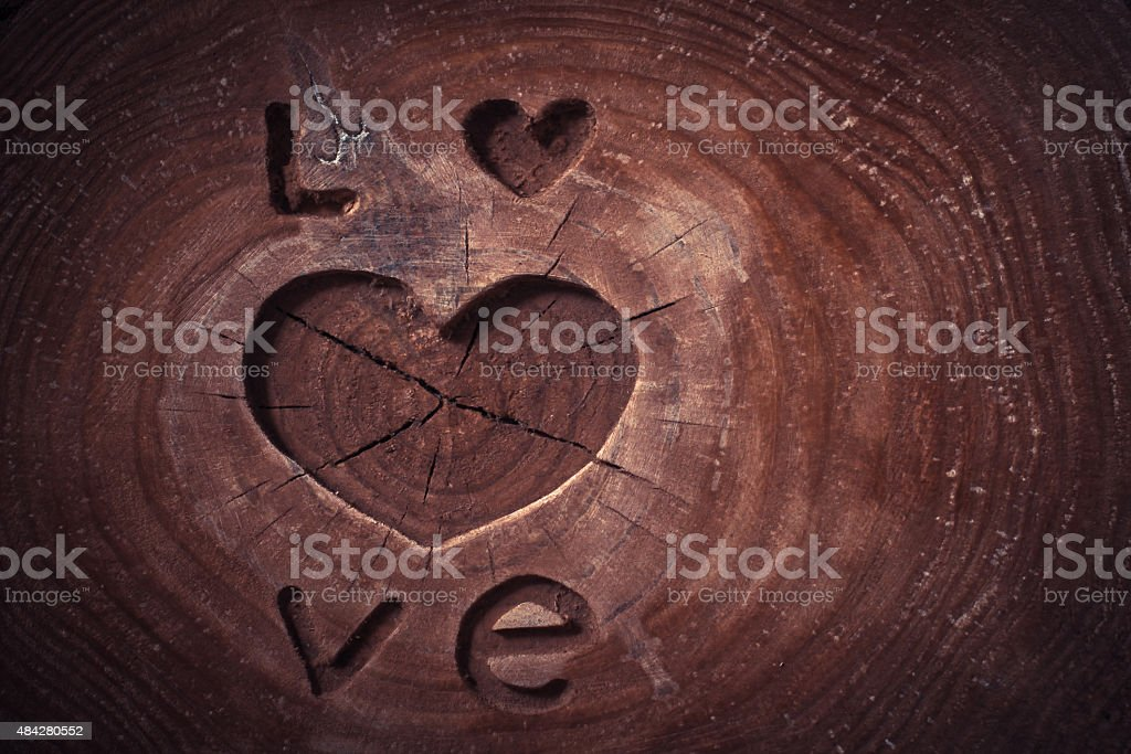 Valentine's Day Concept background. Love and heart on wooden background. stock photo