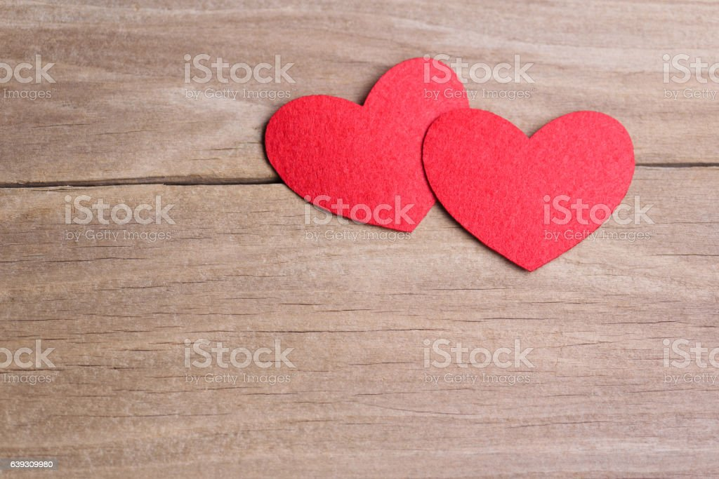 Valentines day concept of two heart shape cards. stock photo
