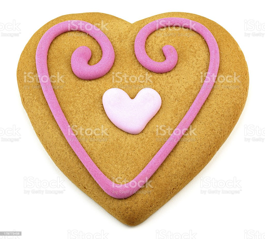 valentines day cookie with a pink frosting decorations royalty-free stock photo