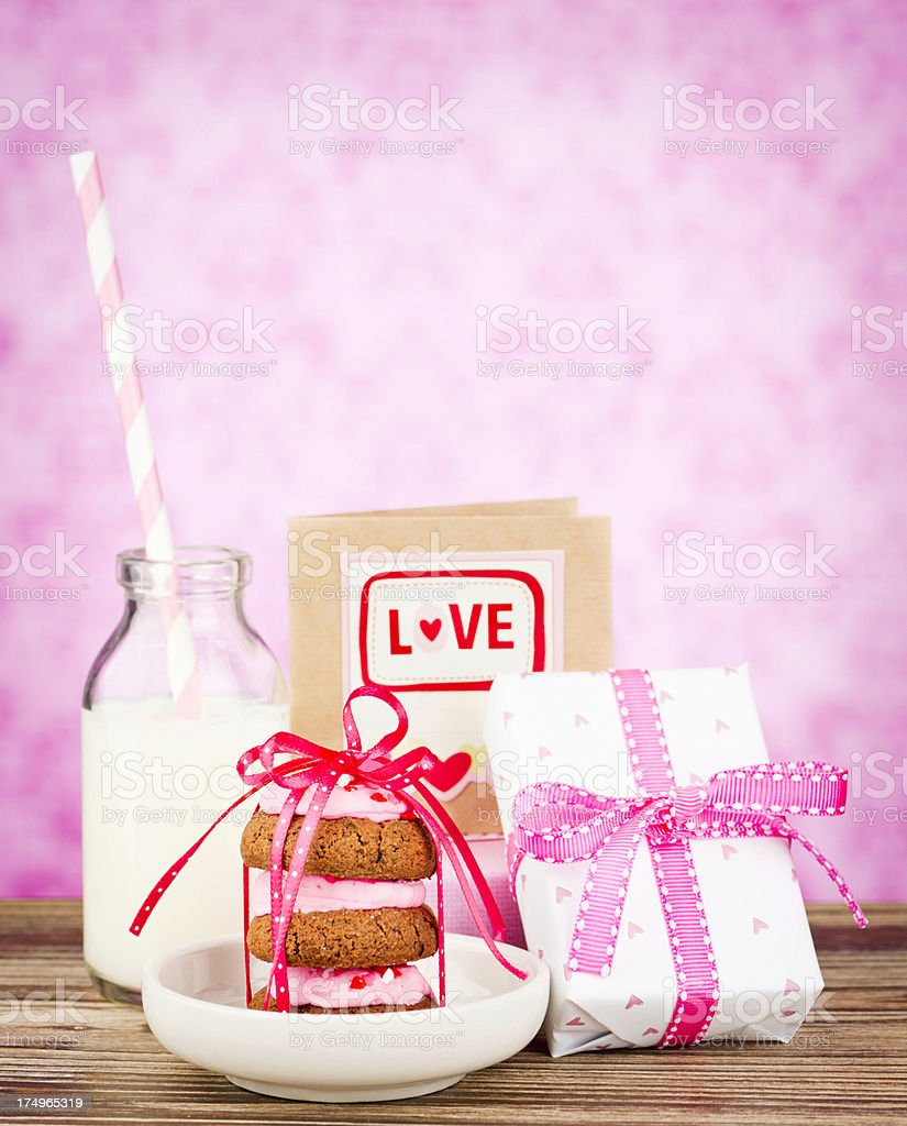Valentine's Day Cookies and Milk royalty-free stock photo