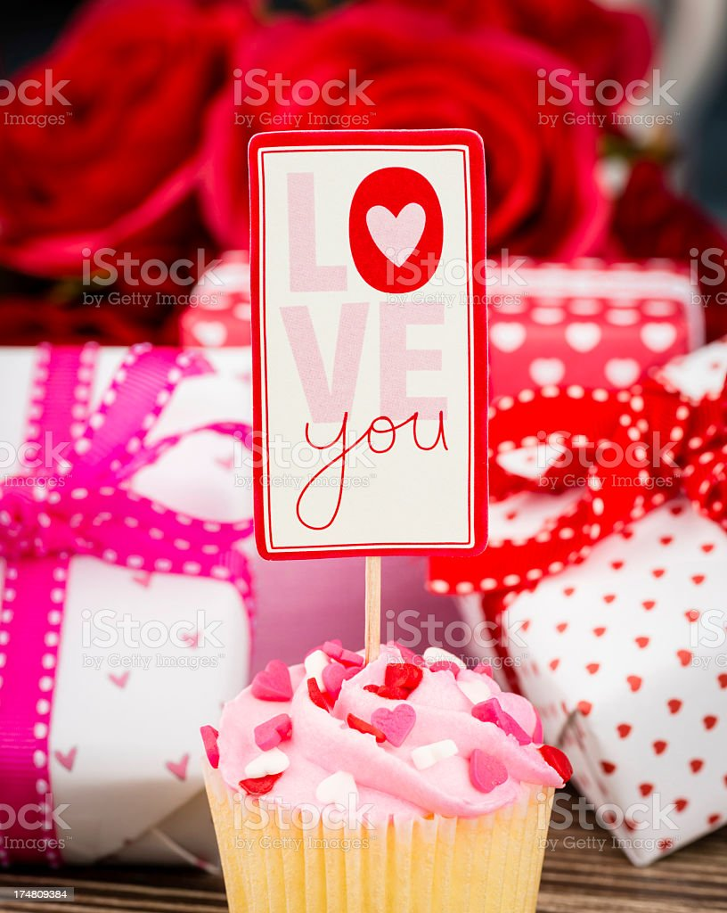 Valentine's Day Cupcake and Gifts royalty-free stock photo